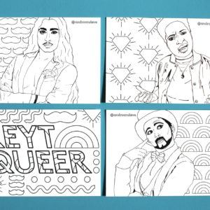 4 black and white postcards featuring the following designs - Christian Adore, Sammy Silver, Bad Lay-Dee and the words Reyt Queer with patterns. Christian Adore has long hair and a moustache and is wearing a dinner jacket and open chest. Bad Lay Dee is a non binary Black Person and wears a bomber jacket and is surrounded by shining diamonds. Sammy Silver is white and he is wearing a top hat and tailcoat with a black beard. He is surrounded by rainbow shapes.