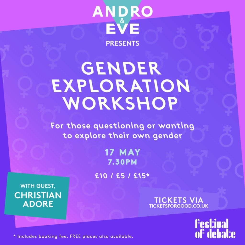 The words 'Gender Exploration Workshop' are set against a purple and pink blended background. The Andro and Eve logo sits at the top in turquoise and white.